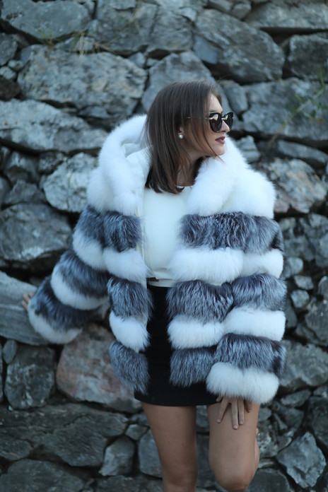silver white fox fur jacket hooded