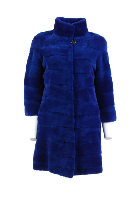 deep blue mink fur coat