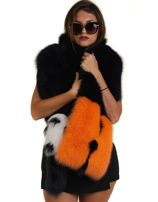Multi Color Fox Fur Collar