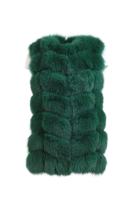 cypress green fox fur vest hip length on ghost mannequin