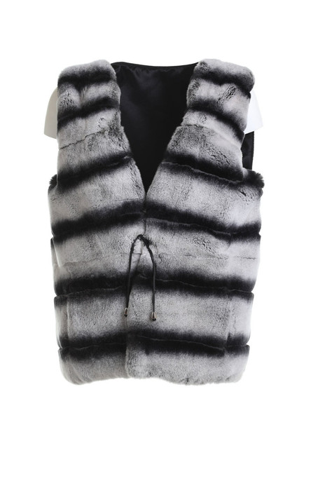 Chinchilla Dyed Rex Fur Vest Capitone Back