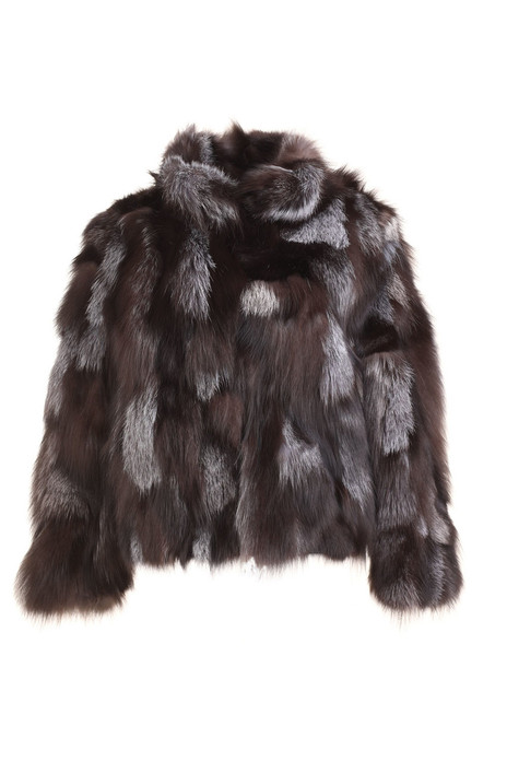 silver fox fur sectional jacket waist length rounded collar  front view