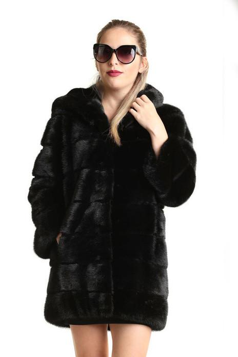 black mink fur coat hooded mid hip length