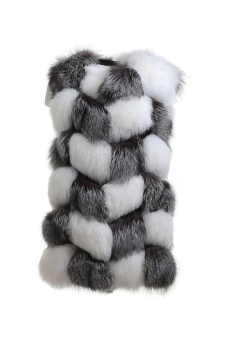 white silver fox vest collarless