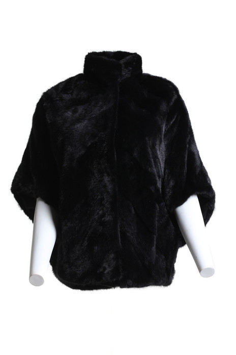 black mink fur cape front view