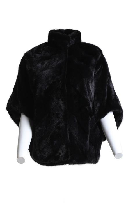 black mink fur cape front view