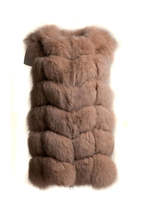 nude beige fox fur vest collarless