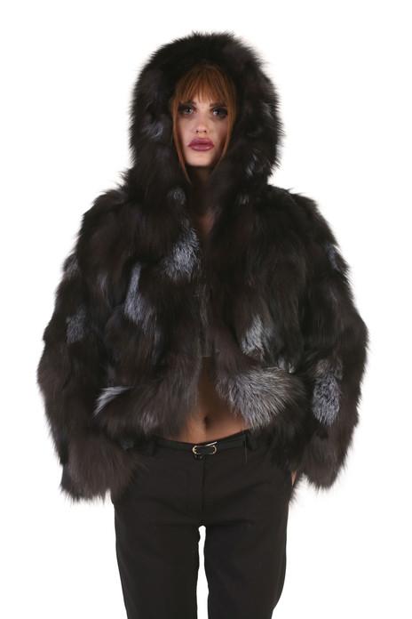 silver fox fur jacket hooded on model