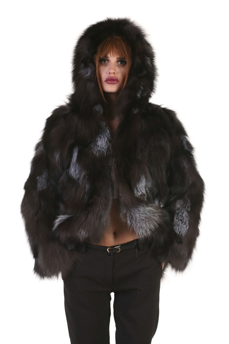 silver fox fur jacket hooded on model
