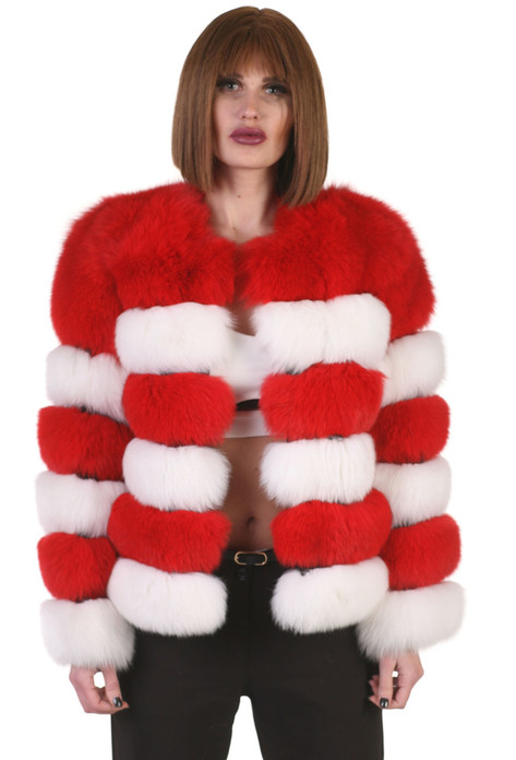 Collarless Fox Fur Jacket Red & White