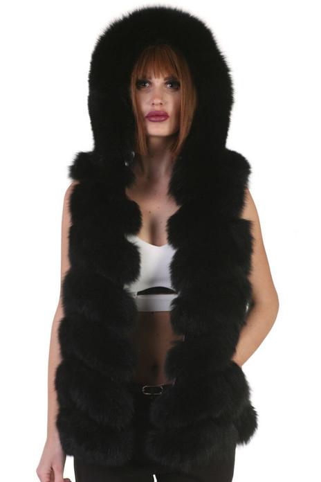 black fox fur vest hooded