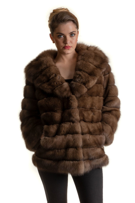 Sable Fur Coat V-neck Collar Hooded saga