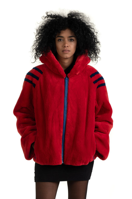 Red Bomber  Beaver Hooded Jacket