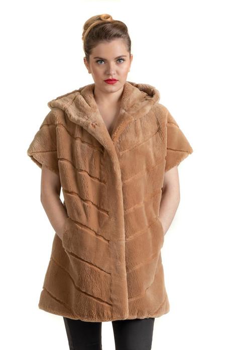 Tan Beaver Hooded Vest