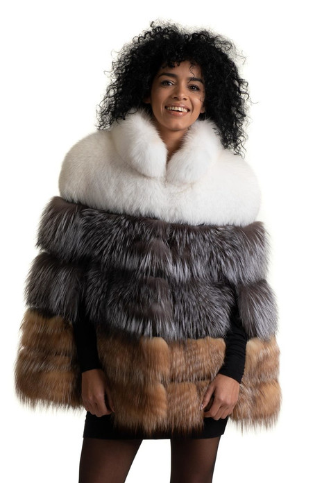 multicolor fox fur cape made of white silver and brown fox pelts  featuring side slits and stand up rounded collar