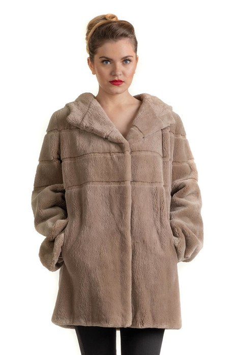 Light Brown Beaver Hooded Fur Coat