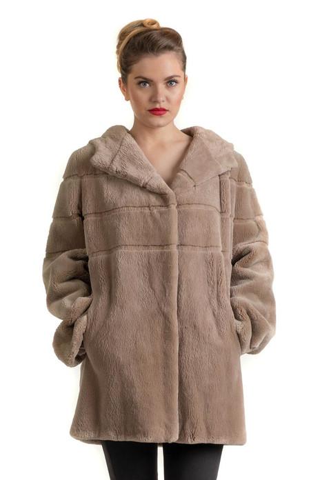 Light Brown Beaver Hooded Fur Coat