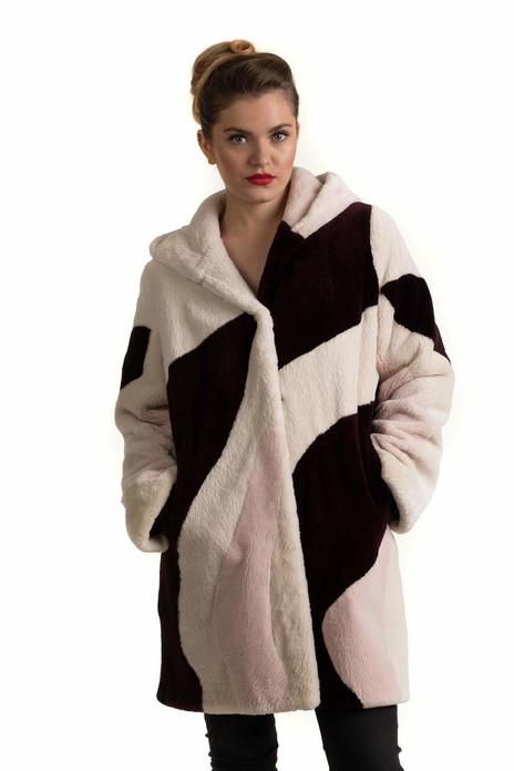Intarsia Hooded Beaver Fur Coat
