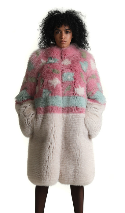 multicolor knee length fox fur coat fully let out with white skirt and floral pattern on upper half