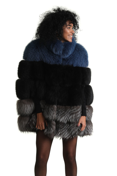 blue black and silver fox fur cape