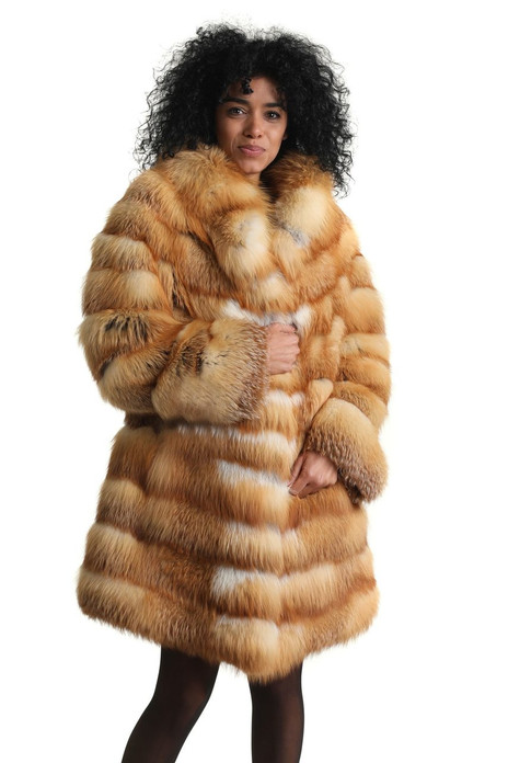 red fox fur coat knee length with shawl collar skins sewn horizontally featuring a brighter tone of red on front part