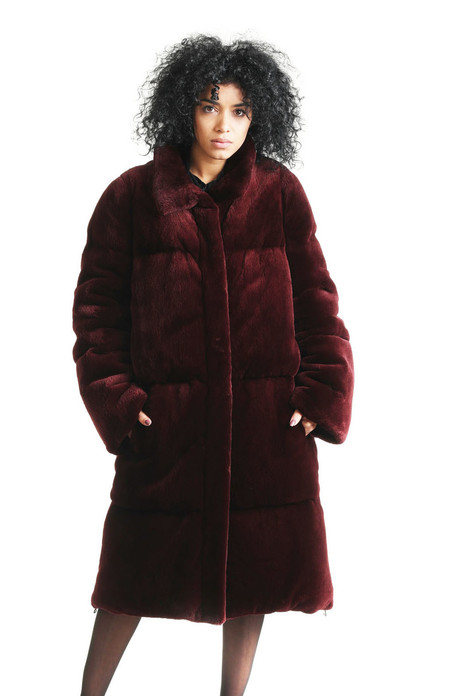 Burgundy Panelled Sheared Bever Fur Coat