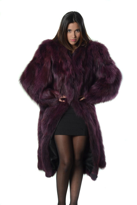long purple fox fur coat made of halfskins with shawl collar and wide plary skirt