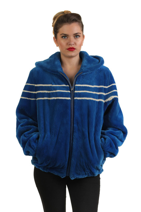 Blue Beaver Fur Bomber Jacket Hooded