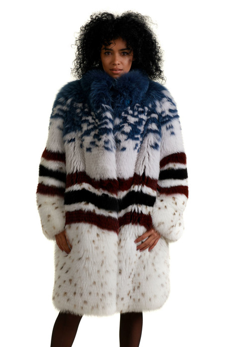 multicolor fox fur coat fully let out knee length  with white main body , wavy black and read stripes on middle part and blue covered top