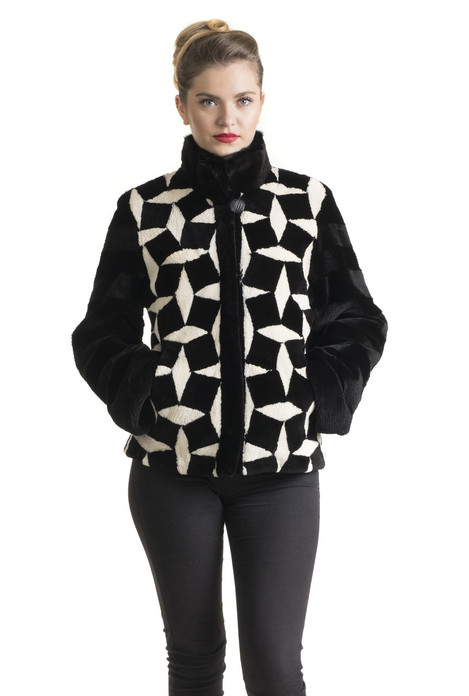 black and white sheared beaver fur jacket with zipper and stand up collar