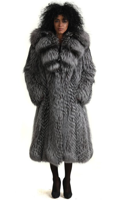 saga fox fur coat silver 3/4 length with hood fully let out , shawl fox collar styled in waterfall pattern  fit in waist and widened bottom sweep