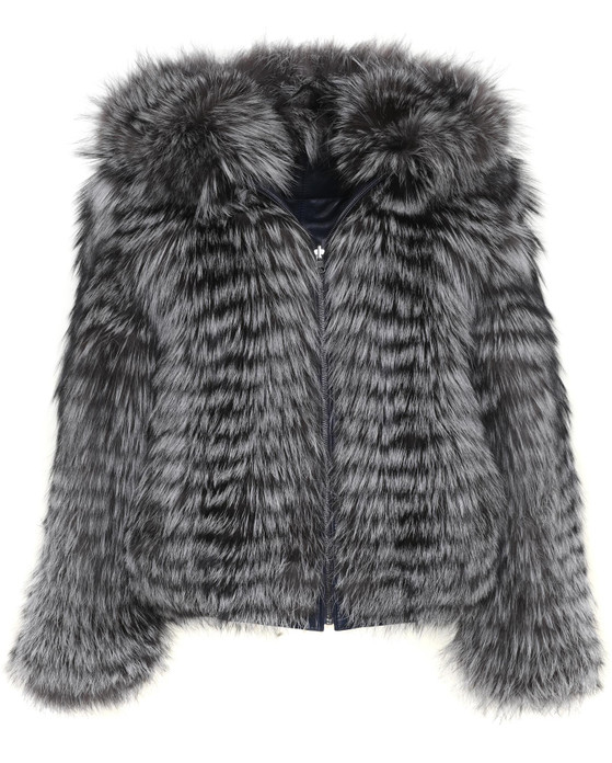 mens double face fox and leather hooded bomber jacket fur view
