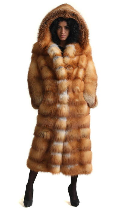 saga red fox fur coat long on model front part skin to skin rear part fully let out
