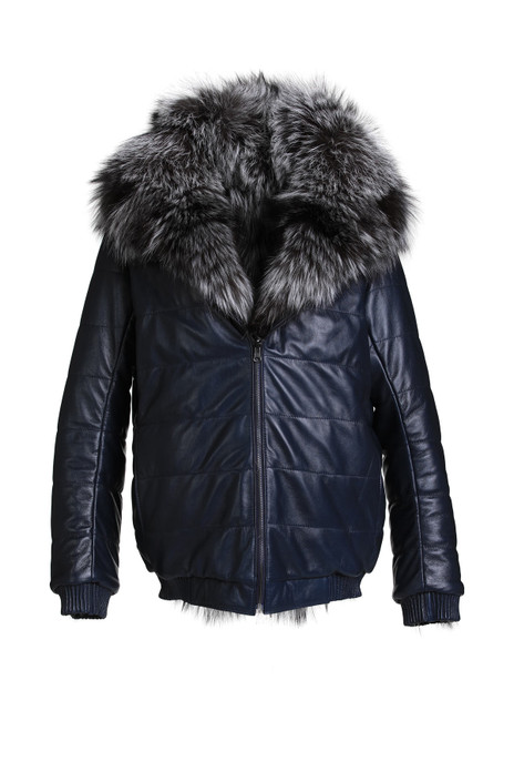 men's  hooded reversible silver fox fu bomber coatr coat leather coat with zipper closure