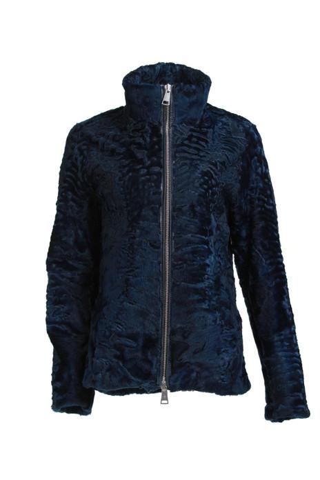 men's swakara lamb fur biker jacket blue