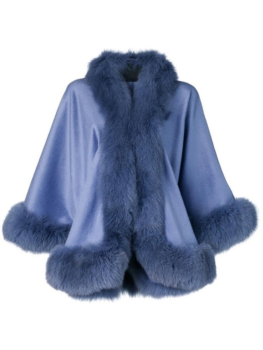 blue cashmere cape with fox trim