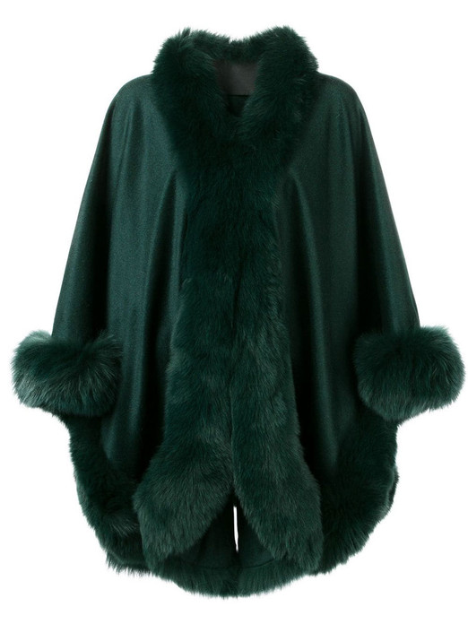green cashmere cape with green fox fur trim
