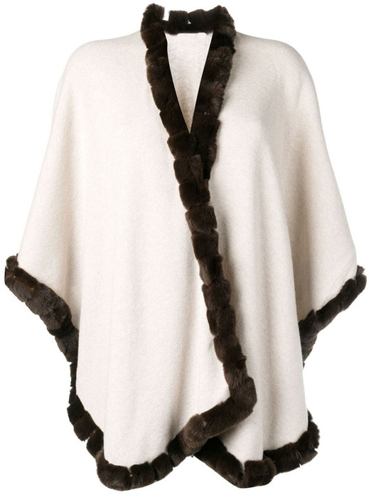 off white cahsmere wool cape with brown rex fur trim