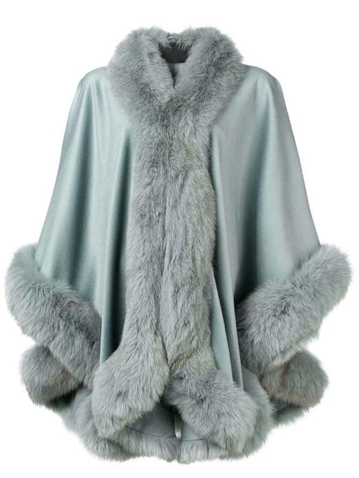 light blue cashmere cape with fox fur trim