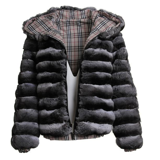 Men's Hooded  Chinchilla Fur Bomber Jacket Reversible