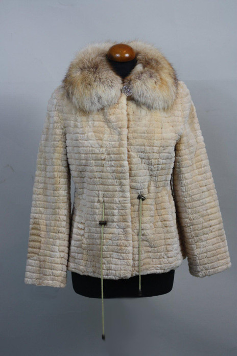 cream ssheared and sculpted beaver fur jacket with fox collar and drawstrings on mannequin