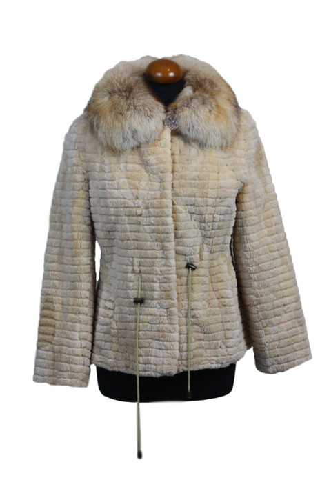 cream sheared and sculpted beaver fur jacket with fox collar and drawstrings on mannequin