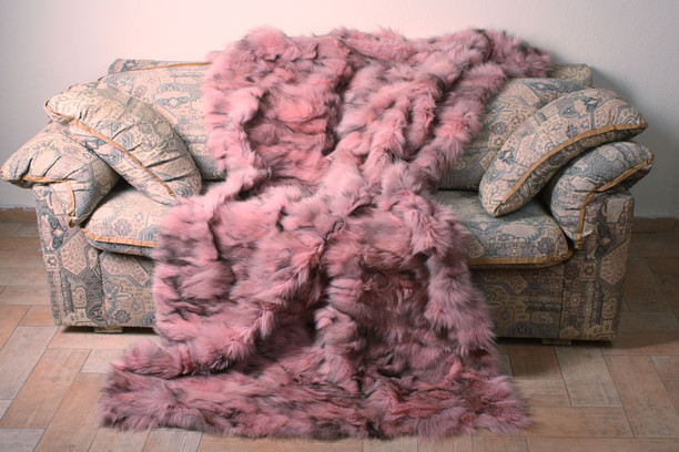 pink black sectional fox fur blanket