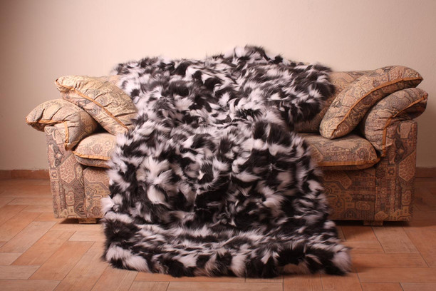 black and white sectional fur blanket