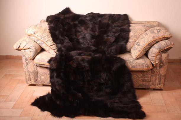 dark brown fox fur blanket