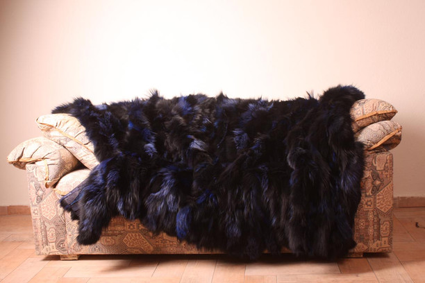 Blue Black Sectional Fox Fur Blanket