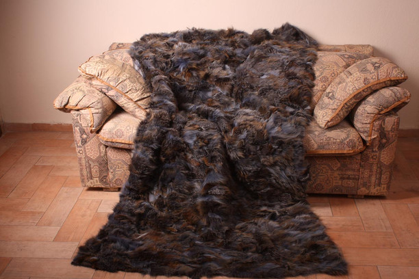 Blue Brown Fox Fur Blanket
