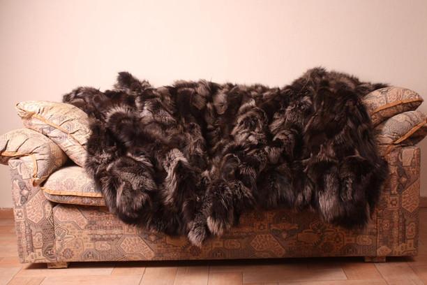 Ash Gray Fox Fur Blanket