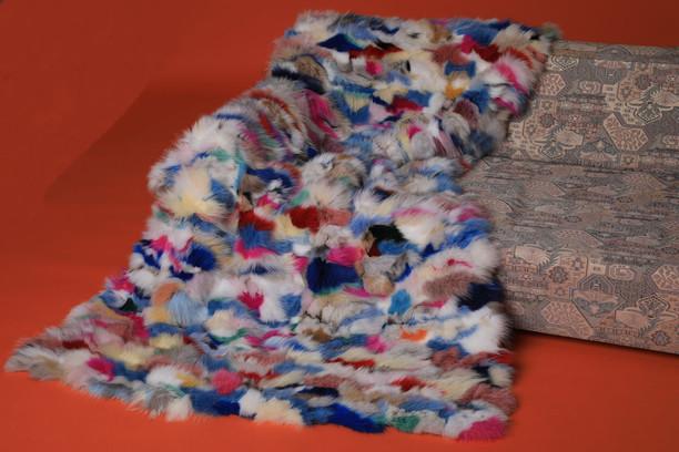 Multi-Color Fox Fur Blanket Throw Mosaic on sofa