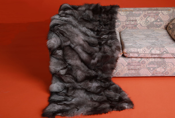 Blue Frost Fox Fur Blanket Throw Halfskins On Couch